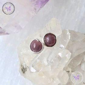 Ruby Silver Wire Wrap Stud Earrings